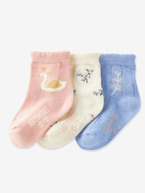 Pack of 3 Pairs of Oeko Tex® Socks with Scalloped Trim, for Baby Girls pink/multi
